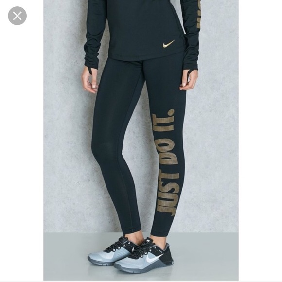 womens Nike pro just do it gold leggings sz XS B3
